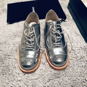 Chanel Silver Oxford Leather Flats